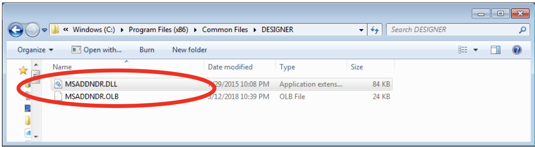 Unicom Finance MSADDNDR.dll and MSADDNDR.OLB exist in folder and are correct version 6.00.8169