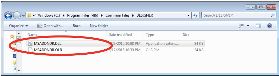Unicom Finance MSADDNDR.dll and MSADDNDR.OLB exist in folder and are correct version 6.00.8169