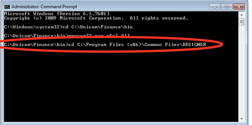 "Unicom Finance Registering MSADDNDR.dll Type: cd C:\Program Files (x86)\Common Files\DESIGNER and click ""Enter"""
