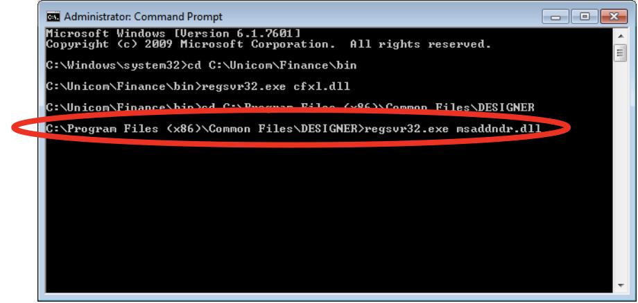 "Unicom Finance Registering MSADDNDR.dll Type: regsvr32.exe cfxl.dll and click ""Enter"""