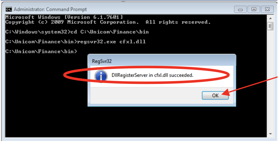 "Unicom Finance Registering CFXL.dll Confirm ""…succeeded"" and click OK"
