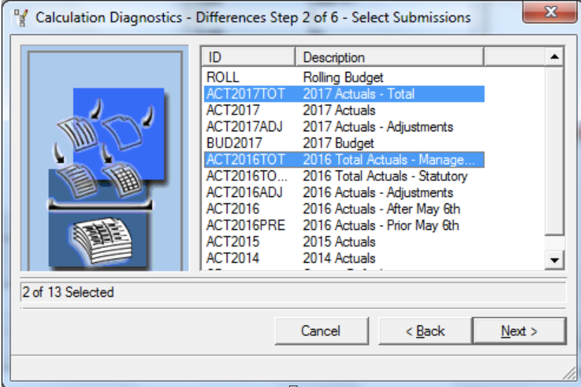 Compare submissions Calculations Diagnostics