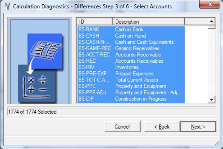 Select all items Calculations Diagnostics
