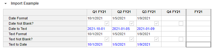 Date and Text Conversion Upload Example